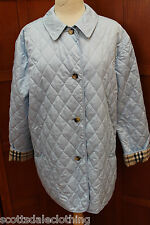 Burberry London Blue Quilted Nova Check Plaid Lined Jacket Coat Snap Front L Reg