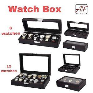 Premium-Watch-Box-Storage-Black-Carbon-Fibre-for-six-6-or-twelve-12-watches