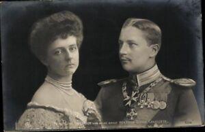 Ansichtskarte-PK-sw-Portraet-Prinz-Eitel-Friedrich-amp-Herzogin-Sophie-Charlotte
