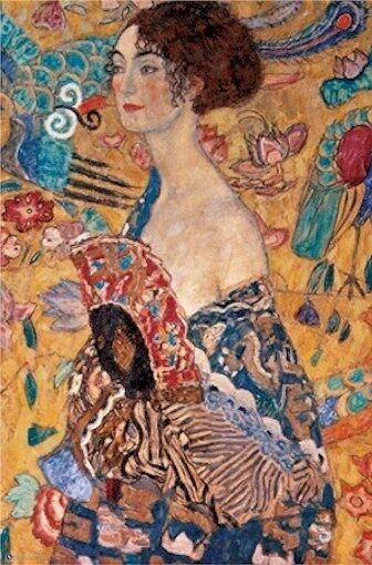 GUSTAV KLIMT ~ LADY WITH FAN 24x36 FINE ART POSTER Masterpiece NEW/ROLLED!
