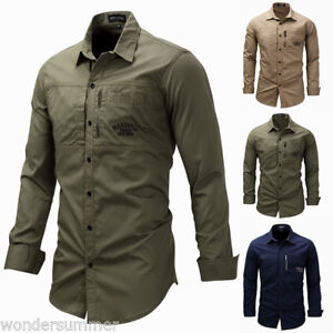 Mens-Long-Sleeve-Cargo-Casual-Shirts-Military-Air-Army-Tactical-Combat-Sport-Top