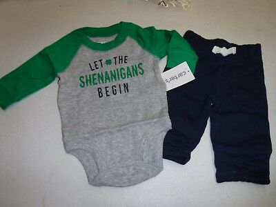 PATRICK/'S DAY OUTFIT NEW #13782 CARTER/'S NEWBORN LET THE SHENANIGANS BEGIN ST