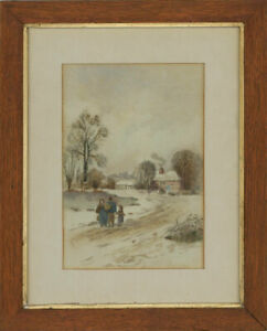 Framed-Mid-20th-Century-Watercolour-Winter-Cottage-Landscape