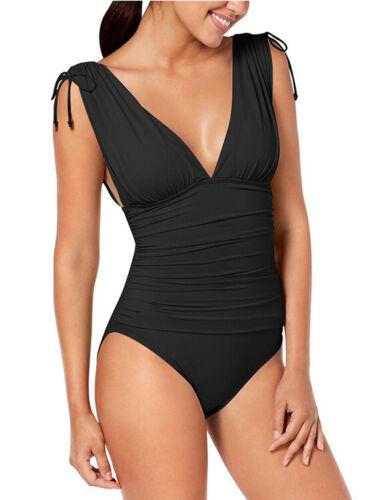 moda mare costume intero monokini donna elegante nero scollato sgambato  6197