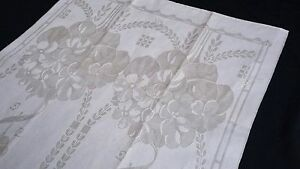 antique unused linen damask Towel / Runner beautiful floral art nouveau design
