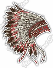 "Indian Chief Head Dress  Apache Native Gift Car Bumper Vinyl Sticker Decal 4""X5"""