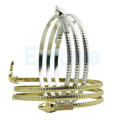 Gold/Silver Coiled Upper Arm Cuff Armlet Snake Chain Bangle Bracelet Anklet Punk