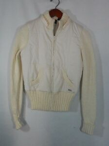 Cream Guess Jeans Puffy Sweater Coat In Size S Classic