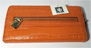NWT ANNE KLEIN - Trendy Orange Zip Around Wallet - ALLIGATOR ALLEY SLGS