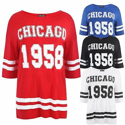 Womens Chicago 1958 Printed Ladies Short Sleeve Oversized T-Shirt Top Plus Size