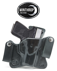 Kahr MK9 IWB Dual Snap Leather Holster Right Hand Black
