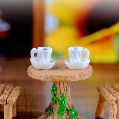 2pcs tea cup Resin Miniature Figurine Garden Dollhouse Decor Micro LandscapeLD