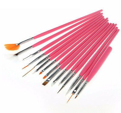 15pcs Acrylic UV Gel Nail Art Brush Design Pen Drawing Painting Brushes set Pink