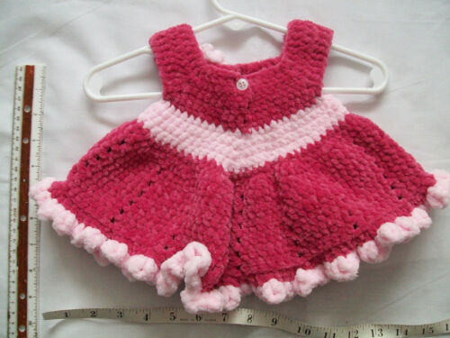 HANDMADE CROCHETED BABY SLEEVELESS DRESS made with Parfait Yarn ~ 0-3 MONTHS