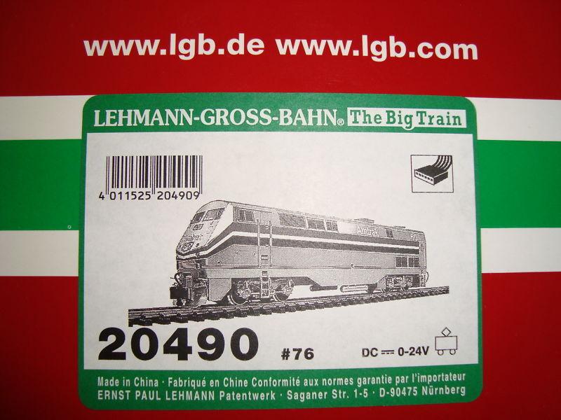 LGB 20490.76 AMTRAK GENESIS DIESEL LOCO ORIGINAL BOX & FOAM INSERTS ONLY NEW
