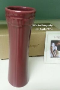 NEW-in-BOX-Longaberger-PAPRIKA-RED-Pottery-FLOWER-POT-VASE-GREAT-GIFT-IDEA