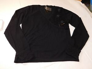 BCBG-Maxazria-Long-Sleeve-sweater-shirt-Womens-Size-L-large-Black-NWT