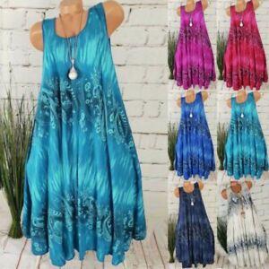 Womens-Boho-Summer-Midi-Dress-Holiday-Beach-Sleeveless-Baggy-Swing-Sundress