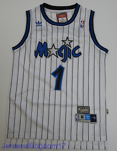 the latest d4c88 3011a Details about Throwback Hardwood Jersey TRACY McGRADY 1 Orlando Magic White  Striped Mens NWT