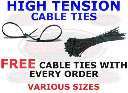 STRONG BLACK CABLE TIES TIE WRAPS ZIP TIES VARIOUS SIZES FREE TIES ON ALL ORDERS