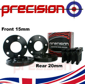 Black-Staggered-Wheel-Spacers-15mm-and-20mm-Bolts-for-BMW-3-Series-Alloy-Wheel