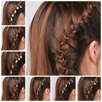 5Pcs/Pack Fashion Pigtail Hair Clip Silver Gold Cross Star Hairpin Short Braid