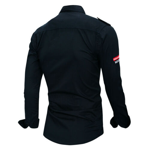 New Mens Military Casual Long Sleeves Pockets Denim Cotton epaulet Shirts HT6474