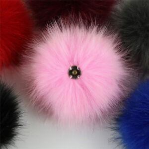 e251187165a 1x Faux Fox Fur Pom Pom with Press Button Fake Fur Hat Bubble ...