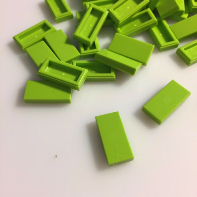 LIME Green Flat Tile 1x2-10 25  Or 50 Pieces LEGO 3069