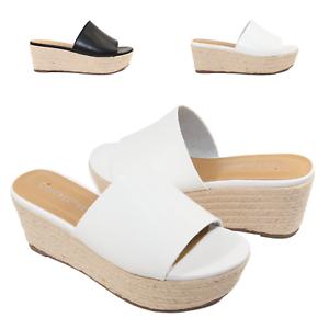0cd849141b7 Details about Women's Slip On Espadrille Wedge Platform Slide Sandals  STRAUSS