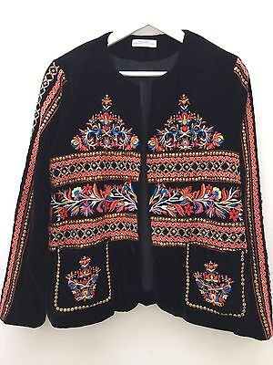 Zara velevet embellished evening jacket, size L