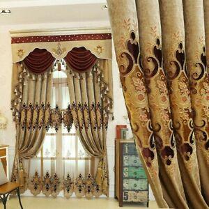 Chenille Embroidery Curtains Cloth Pelmet Voile Tulle Window Screen Drape Luxury Ebay
