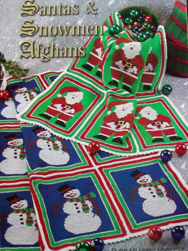 Crochet Pattern Only ~ 2 Christmas Afghans ~ Santas /& Snowmen ~ Perfect Decor!