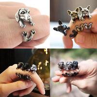 Adjustable Antique Bronze Bulldog Statement Wrap Animal Ring Vintage Jewelry