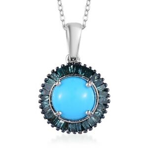Sterling-Silver-Sleeping-Beauty-Turquoise-Diamond-Necklace-20-034-Ct-1-4-I3-Clarity
