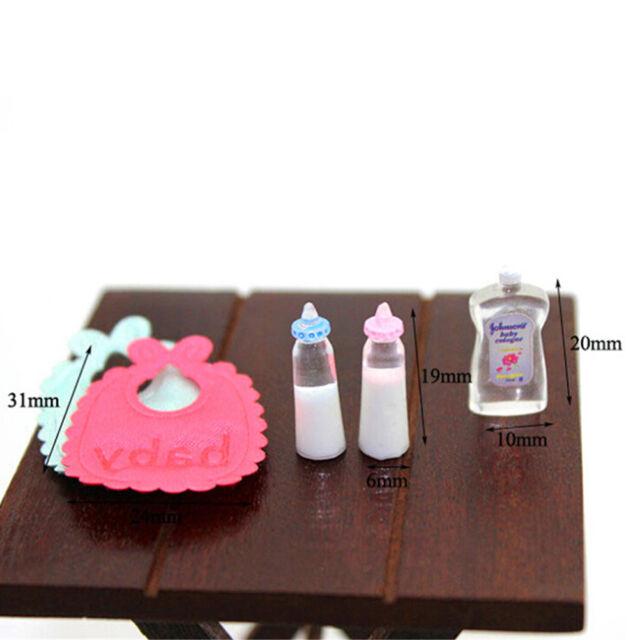 1:12 Dolls House Miniatures Baby Bottles Shampoo Bib Set Nursery Accessory SEAU