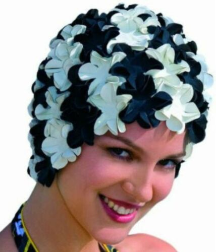 Neu+trendy+Badehaube+Mod.3191+Badekappe+Blüten+Bunt+Lilatöne+Retro+Fashy+Gummi+