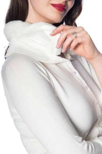 Cream Vintage Retro Rockabilly Faux Fur Peter Pan Collar Cardigan Banned Apparel