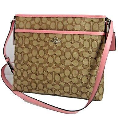 Coach Khaki Blush Outline Signature File Bag Crossbody Bag Handbag F58285 | eBay