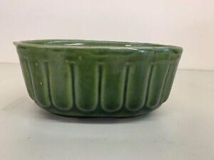 "Vintage USA Brush McCoy Pottery Oval Ribbed Planter 804 Green 7.25"" x 4.25"" x 3"""