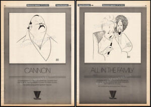 CANNON-ALL-IN-THE-FAMILY-Orig-1986-2-sided-print-AD-poster-AL-HIRSCHFELD
