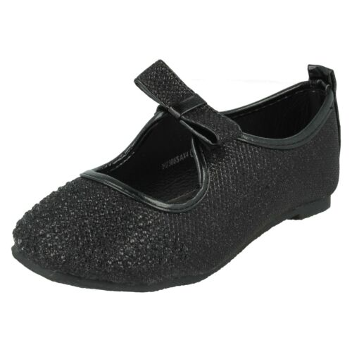 GIRLS SPOT ON SPARKLY DIAMANTE PARTY BRIDESMAIDS BOW SLIP ON FLAT SHOES H2R306