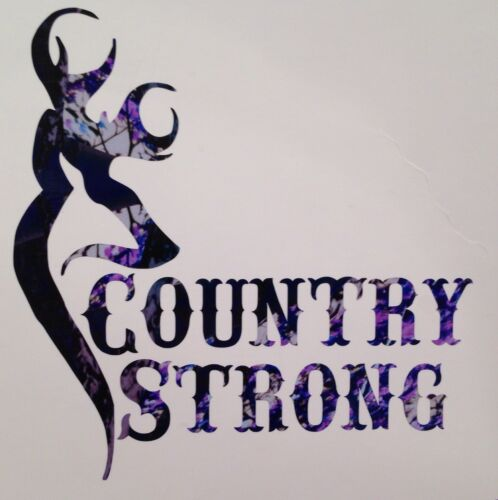 """Blue Camo Country Strong Girl Truck Vinyl Decal 5/"""" Cowgirl Muddy Deer Browning"""