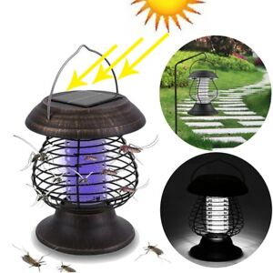 Solar Powered Outdoor Mosquito Fly Bug Insect Zapper Killer With Trap Lamp