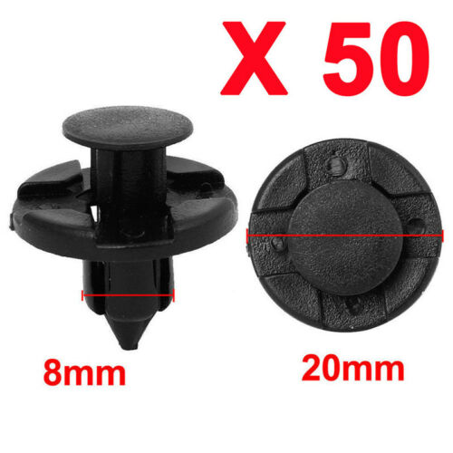 50pcs//set 8mm Hole Plastic Rivets Fastener Push Clips Black for Car Auto new.