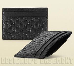 1da038468ba292 Image is loading GUCCI-black-Micro-Guccissima-GG-embossed-Leather-Card-