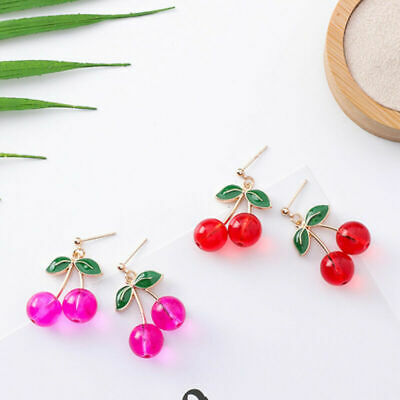 18K Gold Plated Lovey Mini Cherry Set with Diamond Charm Women Girls Stud Earrings 1 Set of 3 Pairs
