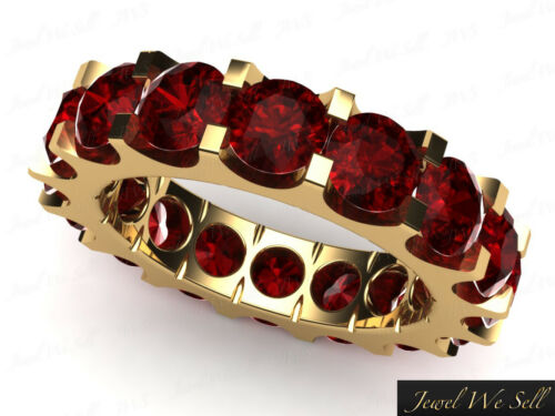 Natural 5.85Ct Round Ruby Shared UProng Eternity Band Solid 14k Yellow Gold AAA