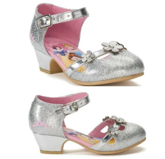 00d6f1a94d31 Disney Princess Silver Sparkle High Heel Strap Shoes Girls Toddler Sz 7 7t