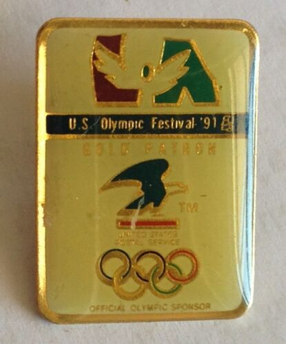 US Olympic Festival 1991 Olympic Gold Patron US Postal Pin Badge Rare F1